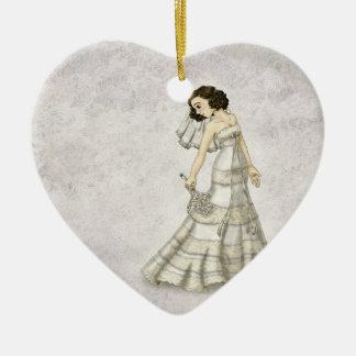 Lace Bride Ceramic Heart Decoration