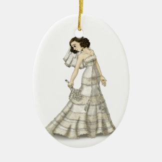 Lace Bride Ceramic Oval Decoration