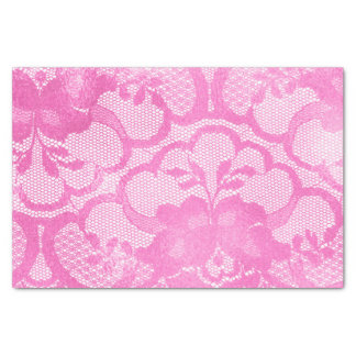 Lace Bright Pink Rose Floral Girly Glam Lux Tissue Paper