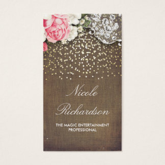 Lace Burlap and Gold Confetti Rustic Country Business Card