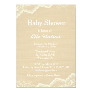 Lace Burlap Baby Shower Invitations, Custom Card