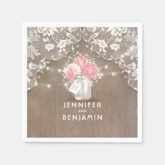 Lace Burlap Floral Mason Jar Rustic Wedding Disposable Serviette