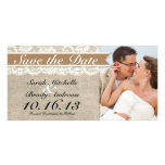 Lace & Burlap Vintage Save the Date - Caramel Brow