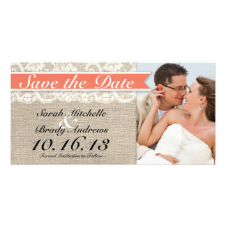 Lace & Burlap Vintage Save the Date - Coral Photo Card Template