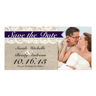 Lace & Burlap Vintage Save the Date - Navy Photo Cards