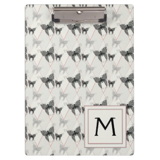 Lace Butterflies And Diamonds Pattern With Initial Clipboard