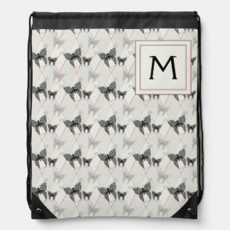 Lace Butterflies And Diamonds Pattern With Initial Drawstring Bag