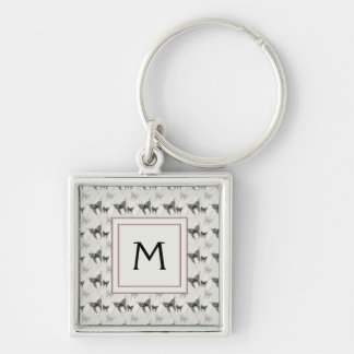 Lace Butterflies And Diamonds Pattern With Initial Key Ring