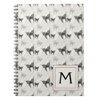 Lace Butterflies And Diamonds Pattern With Initial Notebook