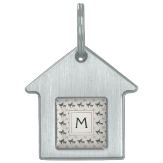 Lace Butterflies And Diamonds Pattern With Initial Pet Tag