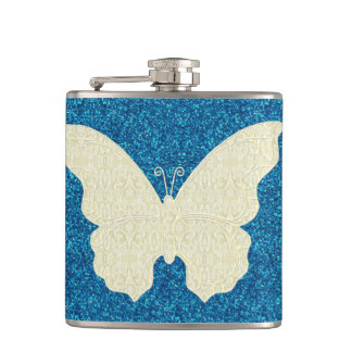 Lace Butterfly On Blue Glitter Flask