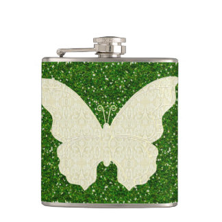 Lace Butterfly On Green Glitter Flask
