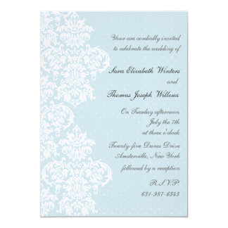 Lace Cover Blue Wedding Invitation