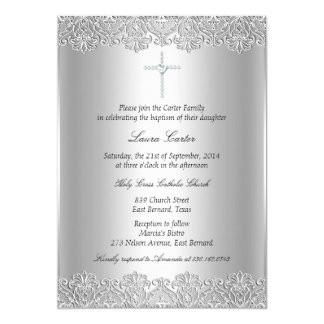 Lace & Cross Baptism/Christening Invitation