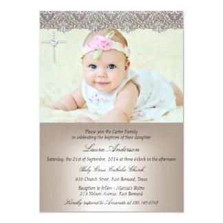Lace Cross Baptism Christening Invitation