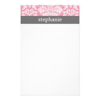 lace Damask Pattern Pink and Gray Stationery