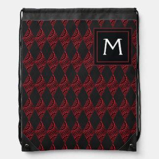 Lace Diamond Argyle Pattern With Initial Drawstring Bag