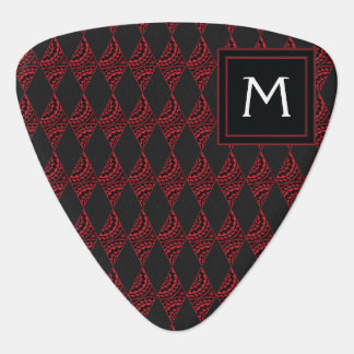 Lace Diamond Argyle Pattern With Initial Guitar Pick