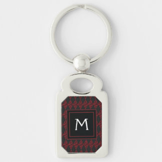 Lace Diamond Argyle Pattern With Initial Key Ring