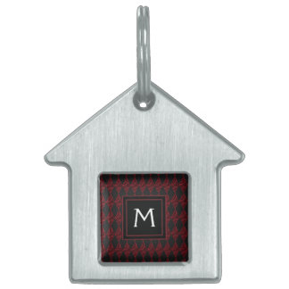 Lace Diamond Argyle Pattern With Initial Pet Name Tag
