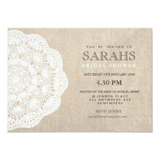 Lace Doily & Burlap Bridal Shower Party Invite