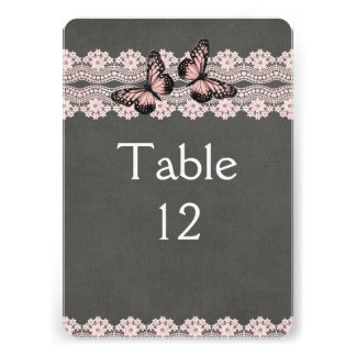 Lace Dream Pink Butterfly Table card 13 Cm X 18 Cm Invitation Card