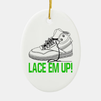 Lace Em Up Ceramic Ornament