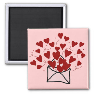 Lace envelope filled with hearts magnet