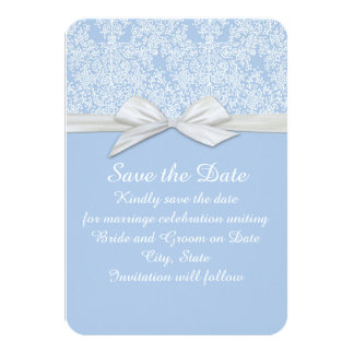 Lace Floral Blue&White Damask Save the date Custom Invitation