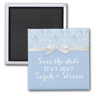 Lace Floral Blue&White Damask Save the date Fridge Magnet