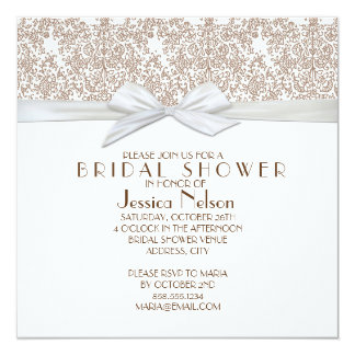 Lace Floral Brown&White Damask Bridal Shower 13 Cm X 13 Cm Square Invitation Card