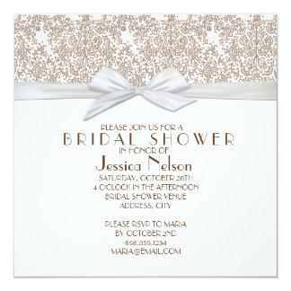 Lace Floral Brown&White Damask Bridal Shower 13 Cm X 13 Cm Square Invitation Card