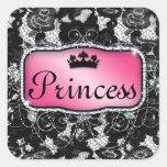 Lace Flower Floral Cute Crown Princess Square Sticker