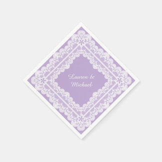 Lace Frame Lavender Orchid Wedding Disposable Serviettes