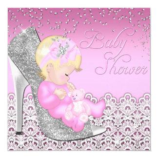 Lace Glitter Shoe Baby Shower Invitation