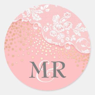 Lace Gold Confetti Glitz Pink Glamour Wedding Round Sticker
