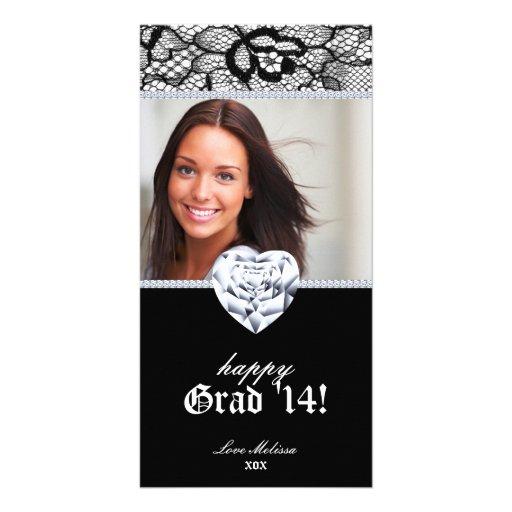 Lace Grad Photo Card Black White Sweet 16