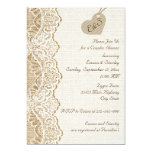Lace & heart on burlap wedding couples shower personalized invitation