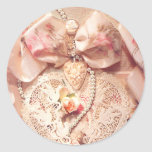 LACE HEART, ROSES & PEARLS by SHARON SHARPE Round Sticker