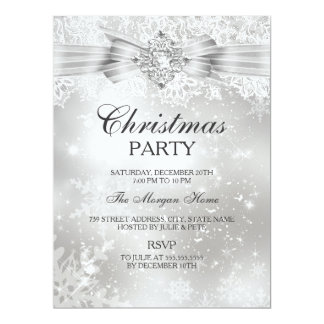 Lace & Jewel Bow Silver Christmas Holiday Invite