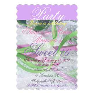 Lace, Lavender, Pink, Green Party Invitation