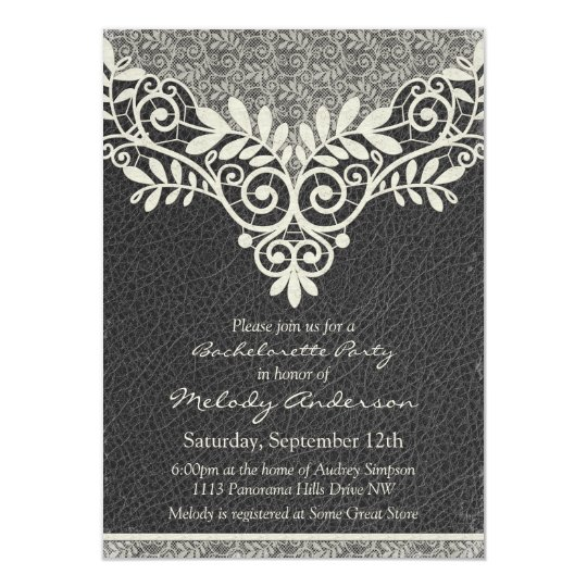 Lace Leather Rustic Vintage Ivory Bachelorette Card