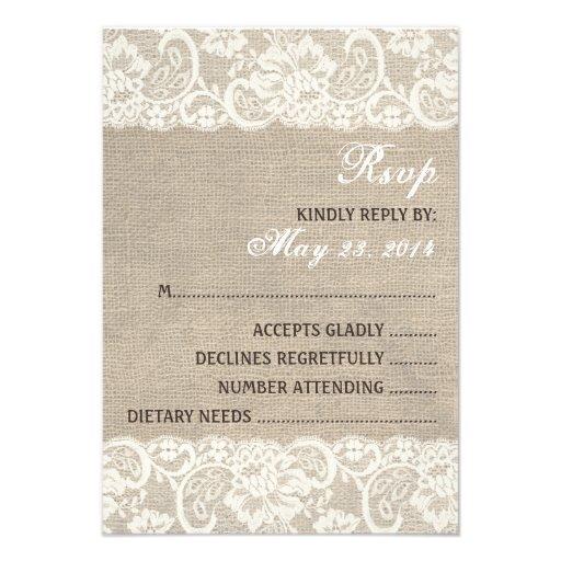 Lace Look Rustic Burlap Wedding RSVP Card Invitation
