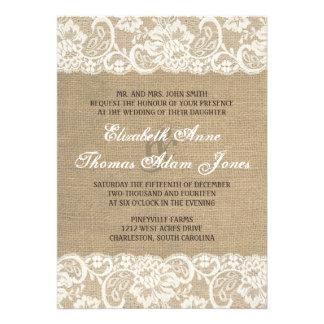 Lace Look Rustic WARM Burlap Wedding Invitation