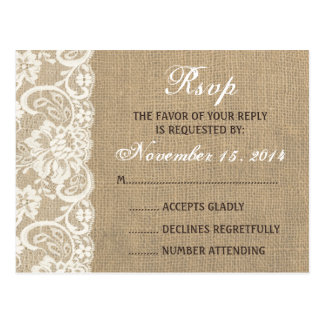 Lace Look Rustic WARM Burlap Wedding RSVP PostCard