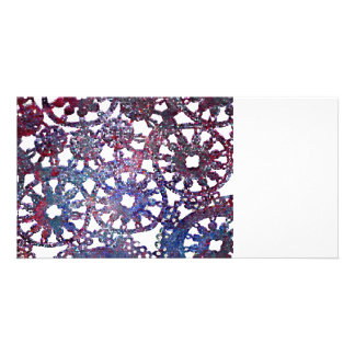 lace look stained glass image blue purple pattern photo card template