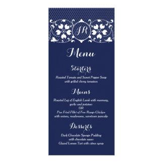 Lace Love   Monogram Wedding Menu Customised Rack Card