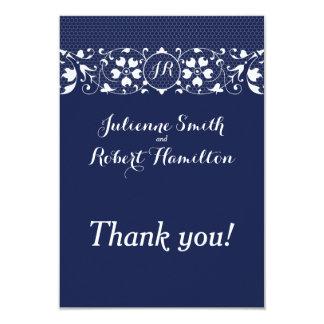 Lace Love | Monogram Wedding Thank You 9 Cm X 13 Cm Invitation Card