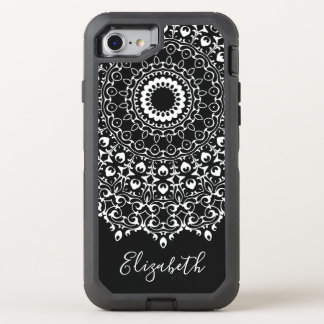 Lace Mandala Design and Name OtterBox Defender iPhone 8/7 Case