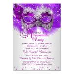Lace Mask Purple Silver Masquerade Sweet 16 13 Cm X 18 Cm Invitation Card